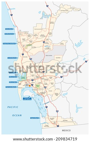 San Diego administrative and beach map - stock vector
