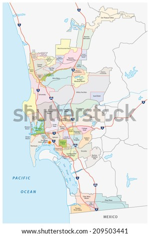 san diego administrative map - stock vector