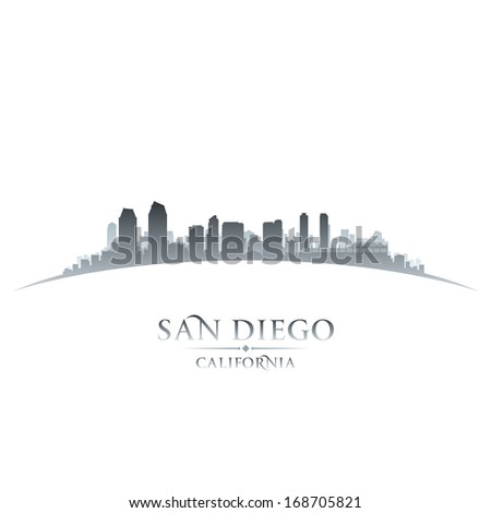 San Diego California city skyline silhouette. Vector illustration - stock vector