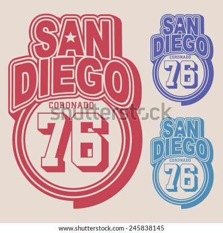 San Diego labels typography, t-shirt graphics , vectors - stock vector