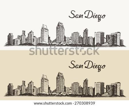 San Diego skyline, big city architecture, vintage engraved vector illustration, hand drawn, sketch. - stock vector
