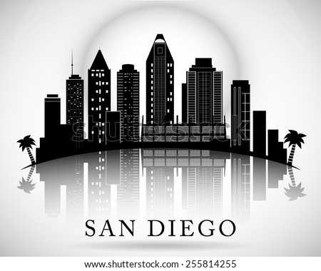 San Diego skyline. City silhouette - stock vector