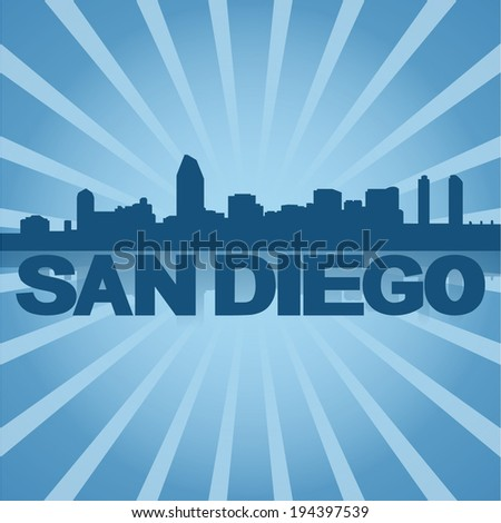 San Diego skyline reflected with blue sunburst vector illustration - stock vector