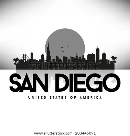 San Diego United States of America Cities/States, vector illustration. - stock vector