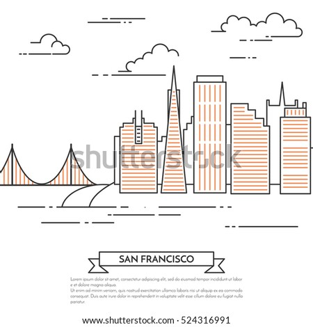 San francisco banner city landscape famous stock vector for Design agency san francisco