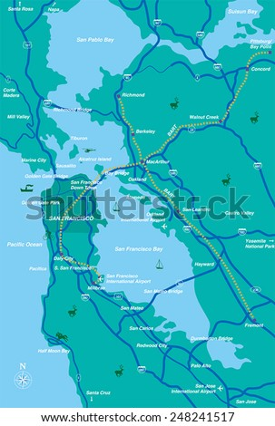 San Francisco Bay Area Map Stock Vector Shutterstock - San francisco map vector free download