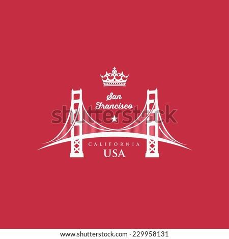 San Francisco bridge Golden Gate symbol - vector illustration - stock vector