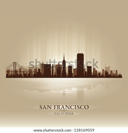 San Francisco, California skyline city silhouette - stock vector
