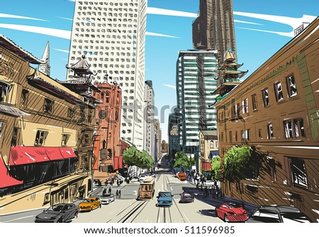San Francisco city hand drawn. Street sketch, vector illustration