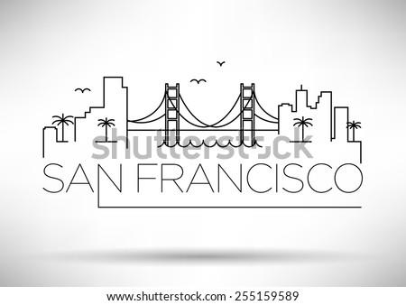 San Francisco City Line Silhouette Typographic Design - stock vector