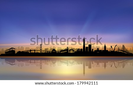 San Francisco City Skyline colorful beautiful Sunset Silhouette vector artwork