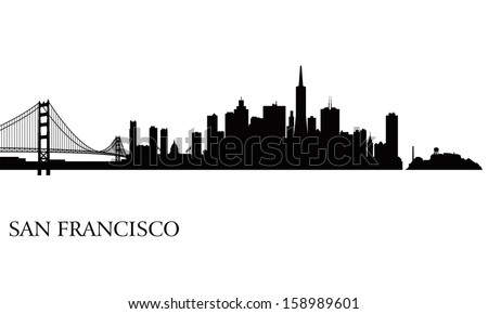 San Francisco city skyline silhouette background. Vector illustration - stock vector