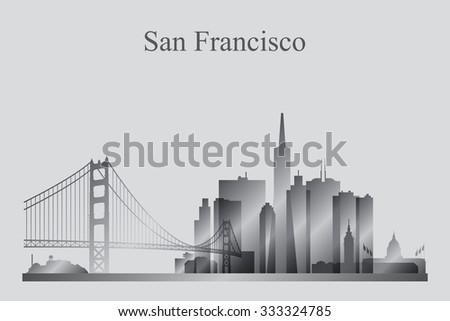 San Francisco city skyline silhouette in grayscale, vector illustration - stock vector