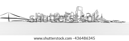 San Francisco Downtown from Pier Sketch, Hand-drawn Vector Artwork - stock vector