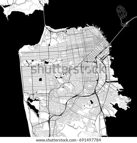 San Francisco Monochrome Vector Map Very Stock Vector 691497784