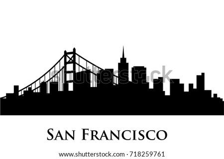 san francisco skyline vector stock vector 718259761 shutterstock rh shutterstock com san francisco skyline outline vector San Francisco Skyline at Night