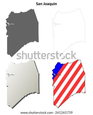 San Joaquin County (California) outline map set - stock vector