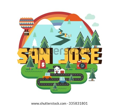 San Jose in colourful poster design. - stock vector