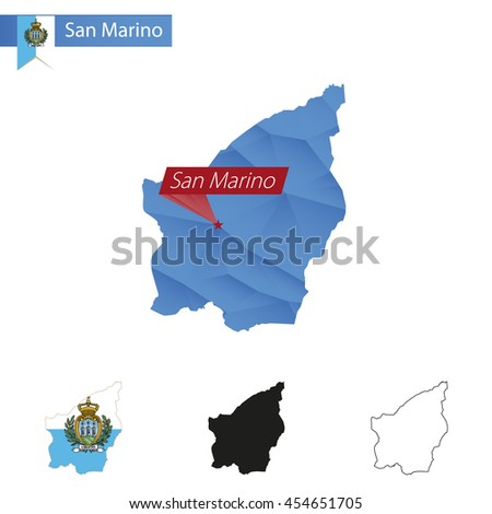 San Marino blue Low Poly map with capital San Marino, versions with flag, black and outline. Vector Illustration. - stock vector