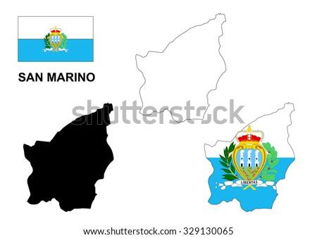 San Marino map vector, San Marino flag vector, isolated San Marino - stock vector