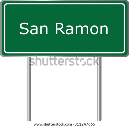 San Ramon , California, road sign green vector illustration, road table, USA city - stock vector