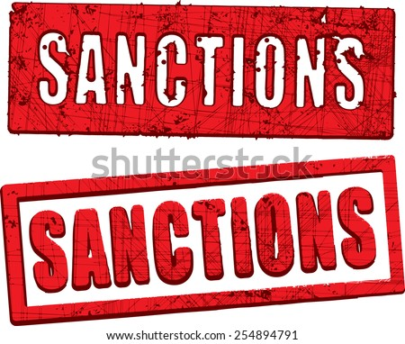 Sanctions rubber stamp. - stock vector