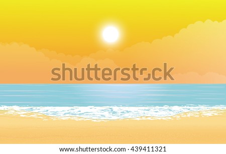 sand and beach with sunset. - stock vector