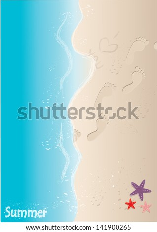 Sand beach with footprints and starfish. Vector illustration - stock vector