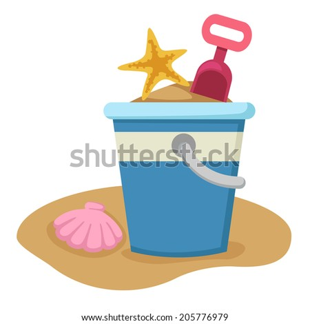 Sand bucket and shovel vector - stock vector