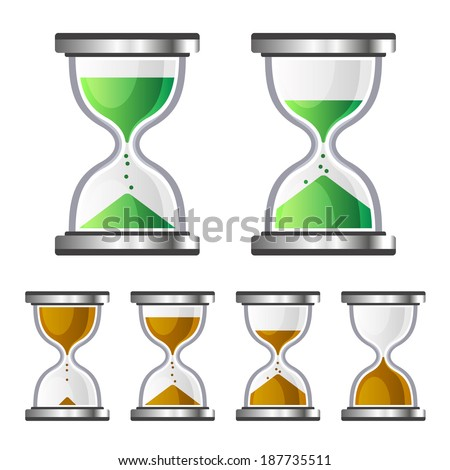 Sand Clock Glass Timer Icons on White Background. Vector - stock vector