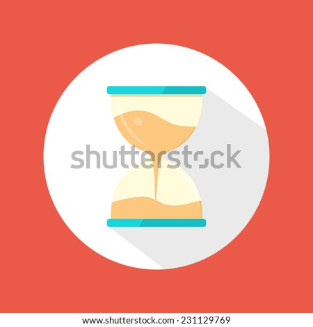 Sand clock icon. Flat modern icon with long shadow