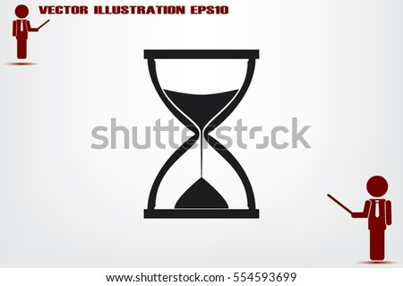 Sand clock icon vector illustration eps10. Isolated badge for website or app - stock infographics.