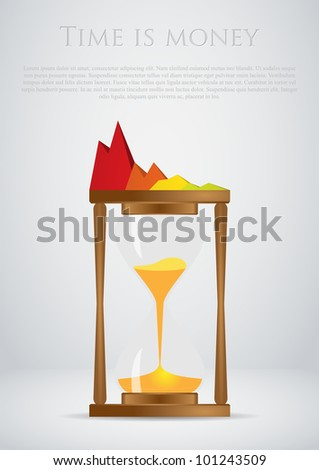 Sand clock, Time is Money concept - stock vector