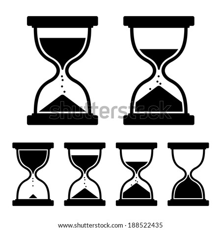 Sand Glass Clock Icons Set. Vector - stock vector