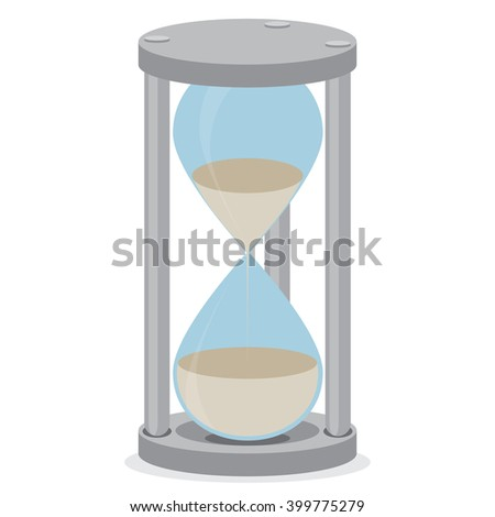 Sand glass isolated. Time clock and hourglass icon, hourglass isolated and sand clock, stopwatch sand, hour glass time, countdown timer measure. Vector flat design illustration - stock vector