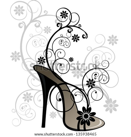 sandal with stylized floral patterns on white background-No transparency-EPS8 - stock vector