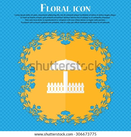Sandbox icon sign. Floral flat design on a blue abstract background with place for your text. Vector illustration - stock vector