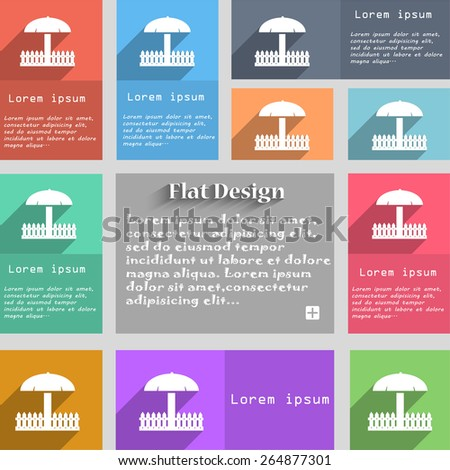 Sandbox icon sign. Set of multicolored buttons. Metro style with space for text. The Long Shadow Vector illustration - stock vector