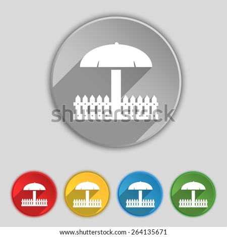 Sandbox icon sign. Symbol on five flat buttons. Vector illustration - stock vector