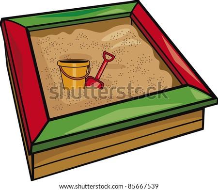 sandbox with toys cartoon illustration - stock vector