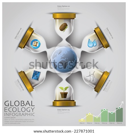 Sandglass Global Ecology And Environment Infographic Design Template - stock vector