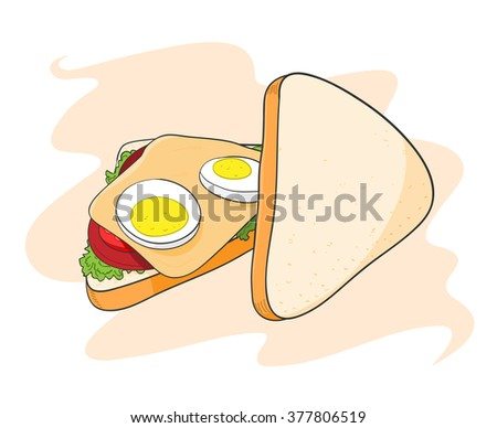 Sandwich, a hand drawn vector illustration of a sandwich, isolated on a simple background (editable). - stock vector