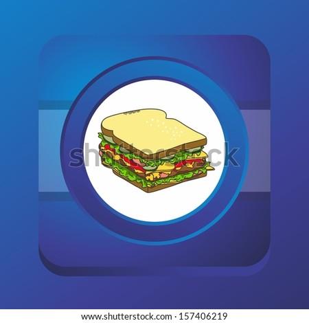 sandwich blue button art - stock vector