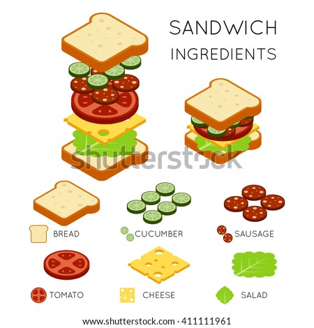 Sandwich ingredients in 3D isometric style. Food design american burger. Vector illustration - stock vector