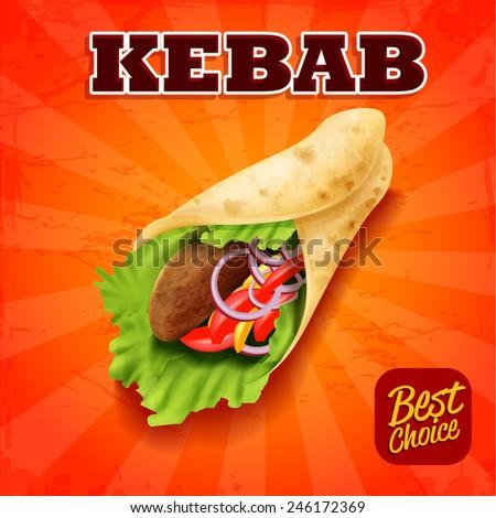 sandwich kebab - stock vector