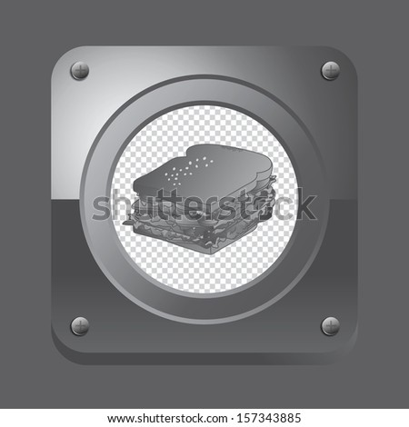 sandwich metal steel icon button - stock vector