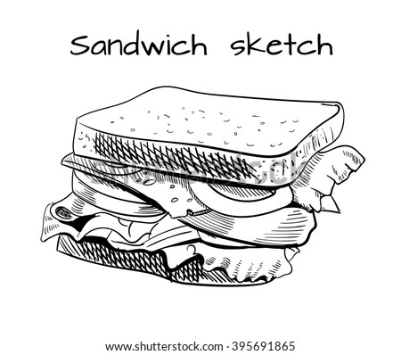 Sandwich outline drawing. VECTOR sketch. Black lines - stock vector