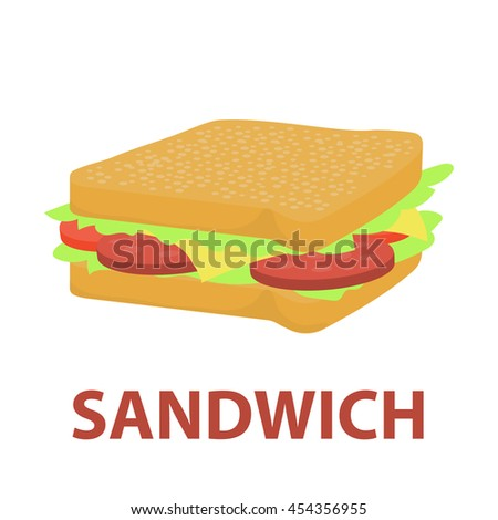 Sandwich vector icon cartoon style. Singe bad food icon from the fast food set - stock vector