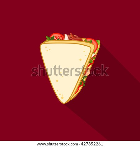 Sandwich vector illustration. Sandwich top view. Sandwich on plate. Sandwich bread design. Sandwich icon. Sandwich isolated from the background. Sandwich in flat style. - stock vector