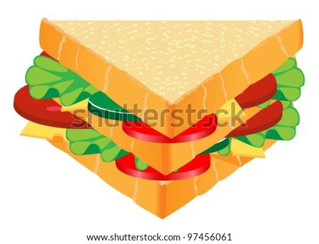 sandwich with cheese - stock vector